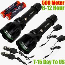 2x CREE LED 500meter 1000lumen TACTICAL RECHARGABLE POLICE FLASHLIGHT TORCH C6BK