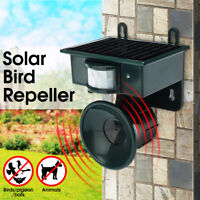 Solar Ultrasonic PIR Sensor Repeller Bird Dog Cat Scarer Deterrent Repellent