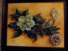 OIL ON CANVAS MAGNOLIA, BIRD & STATE SEAL OF MS...BY FRANKIE BUCKLEY...UNIQUE