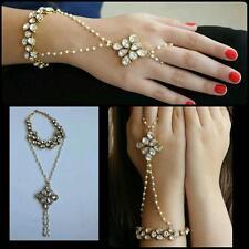 Ethnic Adjustable Pearl Hathfull Arm Bracelet Kundan Bollywood Indian Jewelry