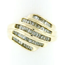 14k Yellow Gold 1.15ctw 5 Channel Baguette Diamond Wide Tiered Swirl Band Ring