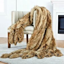 Throw blanket wrap fur Coyote Faux Fur Reader Wrap Throw w/ 8 Tails mfsp $175