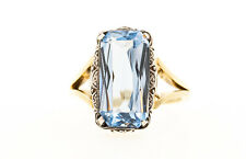Women's Ring Aquamarine Stone Synthetic 14 Carat Yellow Gold 5,8 Gram Size 55