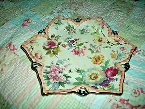 "MacKenzie-Childs 6 Pointed Serving Bowl Floral Design 11.5"""