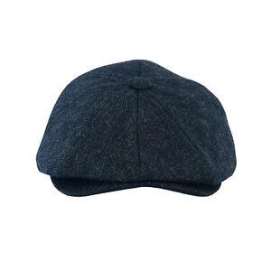 Peaky Blinders Cap Blue Herringbone Tweed Wool Thinsulate Lined Gatsby Hat