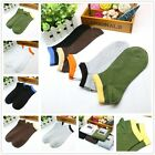 5 Pairs Lot Mens Solid Low Cut Black White Sport Ankle Cotton Socks Colorful Top