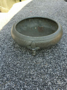Art Deco Antique English My Lady Hand Hammered Pewter Bowl on 3 Pad Feet