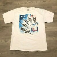 Vintage 1999 Sophos Fighter Bomber USA Aces Graphic T Shirt Hanes Mens Size L