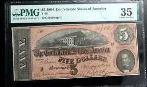 1864 $5 Confederate States CSA T-69 PMG 35 VERY FINE  PF-10 R2 DARKER RED