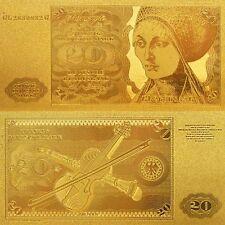 GERMANY 20 DM DEUTSCHE MARK 1970-1980 P-32 BANKNOTE GOLD REPLICMINT