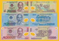 Vietnam Viet Nam Set 10000, 20000, 50000 Dong 2018-2019 UNC Polymer Banknotes