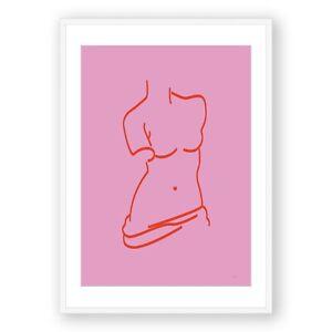 Nude Woman Line Art Framed Print , Pink One Line Wall Art, Greek Line Art
