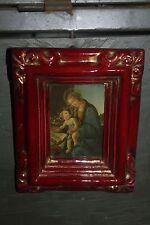 Ravissant petit cadre en plâtre rouge et doré - avec image pieuse - TBE!