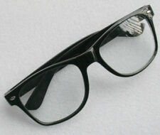 New RETRO BLACK Fashion STYLE GEEK NERD CLEAR LENS GLASSES UK
