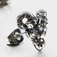 silver stud stainless steel crystal SINGLE vintage style goat earring