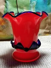 Tango Art Glass Vase -Bohemian Czech Red Orange with Cobalt Blue Applied Rigaree