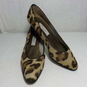 Vintage Rangoni Brown Black Pony Fur Leather Leopard Size 8 Shoes Heels Italy