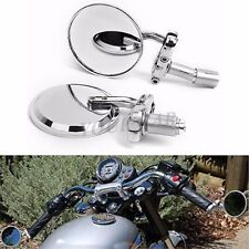 """MOTORCYCLE 3"""" ROUND Chrome 7/8"""" HANDLE BAR END MIRRORS CAFE RACER BOBBER CLUBMAN"""