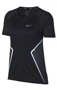 New Nike Women SZ M Miler Running Reflective Top Graphic 890349 010 Mesh Black