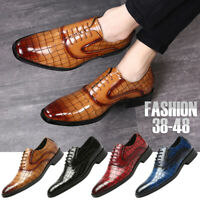 Men Classic Oxfords Leather Shoes Pointed Toe Business Dress Lace Up Casual Work