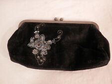 Express Beaded Sequined Clutch Purse Black Velvet