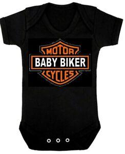 BABY BIKER  BABYGROW  Romper Suit  Black Biker Rocker Heavy Metal
