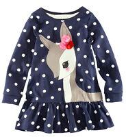 Deer Polka Dots Girl Dress Kids Clothing Long Sleeve Top T-Shirt dress 2-7Y new