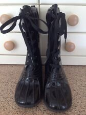 MARC BY MARC JACOBS CALF LENGTH BLACK LACE UP BOOTS UK SIZE 4.5 BARELY WORN