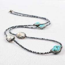 1 Strand Triple Natural Turquoise & Two Natural Pearl Bead Necklace QJA203