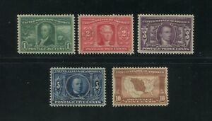 1904 États-unis Louisiane Achat Envoi Timbres #232-237 Mint à Charnières Set