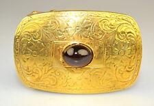 ANTIQUE 14K YELLOW GOLD & GARNET CABOCHON CHASED DESIGN BELT BUCKLE 15.1 GRAMS