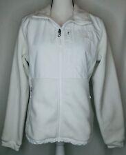 EUC The North Face Polartec Women's White Fleece Jacket Size M Embroidered Logo