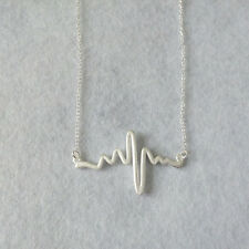 Womens Matte 925 Sterling Silver EKG Heart Beat Life Line Pendant Chain Necklace