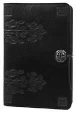 """Da Vinci Fleur de Lis Large 6""""x9"""" Black Leather Journal by Oberon Design"""