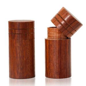 LEAFMAN Rosewood Wooden Stash Jar Natural Wood Herb Spice Storage Contaienr Box