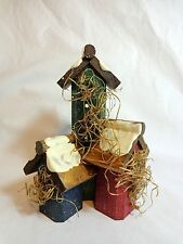 "Birdhouse Figurine 6"" Snowy Rooftops Trio Red Blue Green Wood"