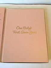 Vintage Our Baby's First Seven Years New in Box Pink Book for Girl Mother's Aid