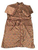 Vintage Christian Dior Monsieur Dark Long Robe Pockets Short Sleeve Satin