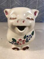 "Vintage Shawnee Smiley Pig 2-1/2qt Pitcher. USA. Kitchen Farm Flowers 7.5"" Tall"