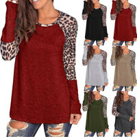 Women Leopard Printing Patchwork Long Sleeve Tunic T-Shirt Tops Blouse ER-0