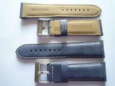 1 bracelet montre vintage cuir bleu jean surpiqure blanche REGNIER - 23mm