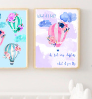NEW Set of 3 Hot Air Balloon Personalised Name Baby Girl Room Nursery Wall Decor