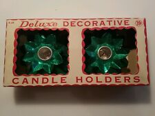 Vtg Deluxe Happy Holidays Bx-4 Green Foil Leaf X Mas Candle Holde 00004000 r Decorations
