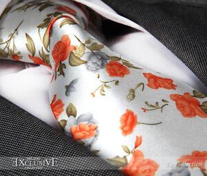 ITALIAN DESIGNER Milano Exclusive Orange & Ivory FLORAL SILK TIE