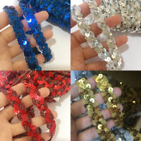 1Yard Sequin Ribbon Braided Applique Trimming Craft DIY Sewing Trimming U Pick