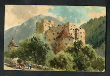 Posted C1908 Art Card: Castle & Man with Horse-drawn Cart