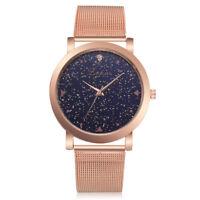 Damenuhr Armbanduhr Quarzuhr Analoguhr Mesh Rosagold Strass Sterne Geschenk