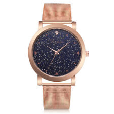 Damenuhr Sternenhimmel Armbanduhr Quarzuhr Analoguhr Rosegold Strass Geschenk GS