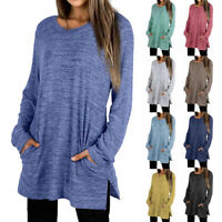 Women Casual Long Sleeve T Shirt Blouse Loose Pullover Tunic Tops With Pockets