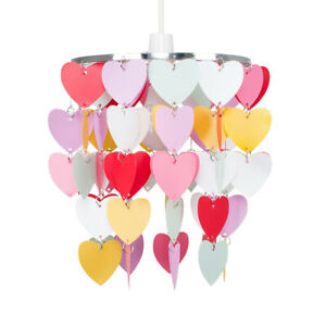 Modern Girls Bedroom Pink Red White Hearts Ceiling Light Shade Pendant Lampshade